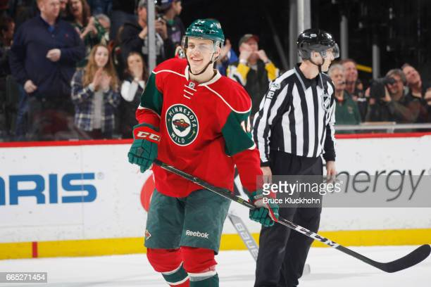 Joel Eriksson Ek of the Minnesota Wild celebrates after scoring a goal against the Ottawa Senators during the game on March 30 2017 at the Xcel...
