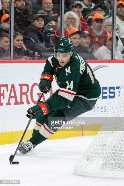 Joel Eriksson Ek of the Minnesota Wild controls the puck against the Winnipeg Jets during the game on October 31 2017 at Xcel Energy Center in St...