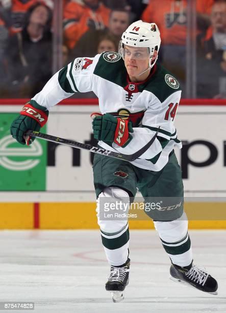 Joel Eriksson Ek of the Minnesota Wild skates against the Philadelphia Flyers on November 11 2017 at the Wells Fargo Center in Philadelphia...