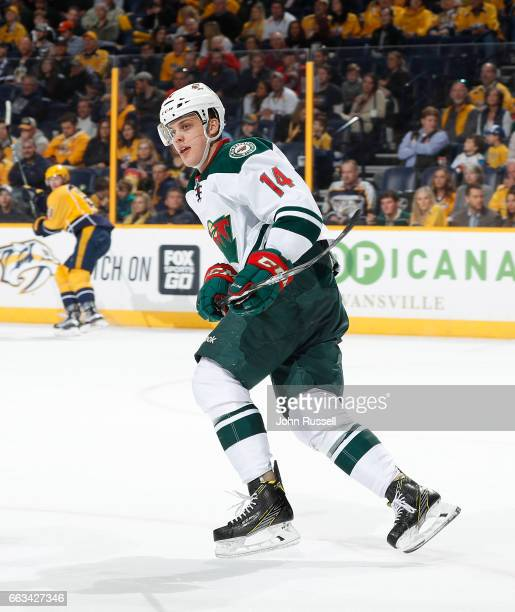 Joel Eriksson Ek of the Minnesota Wild skates against the Nashville Predators during an NHL game at Bridgestone Arena on April 1 2017 in Nashville...