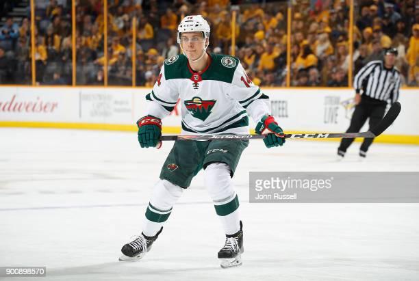 Joel Eriksson Ek of the Minnesota Wild skates against the Nashville Predators during an NHL game at Bridgestone Arena on December 30 2017 in...