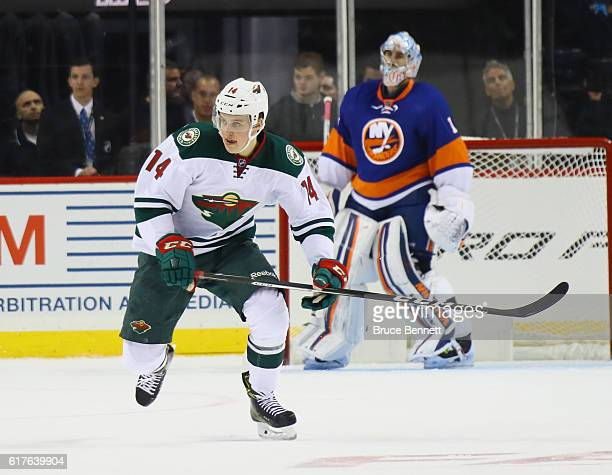 Joel Eriksson Ek of the Minnesota Wild skates against the New York Islanders at the Barclays Center on October 23 2016 in the Brooklyn borough of New...