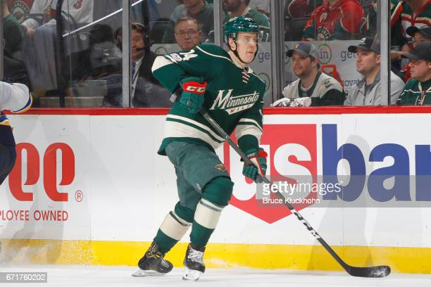 Joel Eriksson Ek of the Minnesota Wild skates against the St Louis Blues in Game Two of the Western Conference First Round during the 2017 NHL...