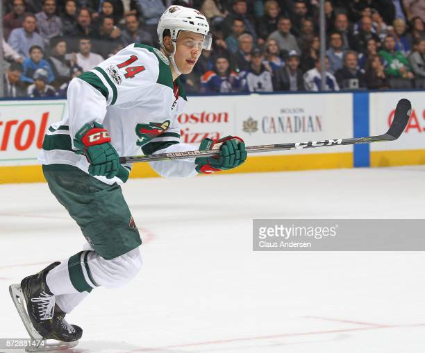 Joel Eriksson Ek of the Minnesota Wild skates against the Toronto Maple Leafs during an NHL game at the Air Canada Centre on November 8 2017 in...