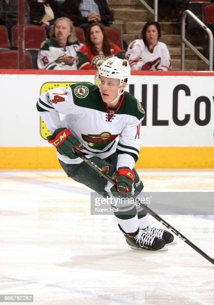 Joel Eriksson Ek of the Minnesota Wild skates up ice against the Arizona Coyotes at Gila River Arena on April 8 2017 in Glendale Arizona