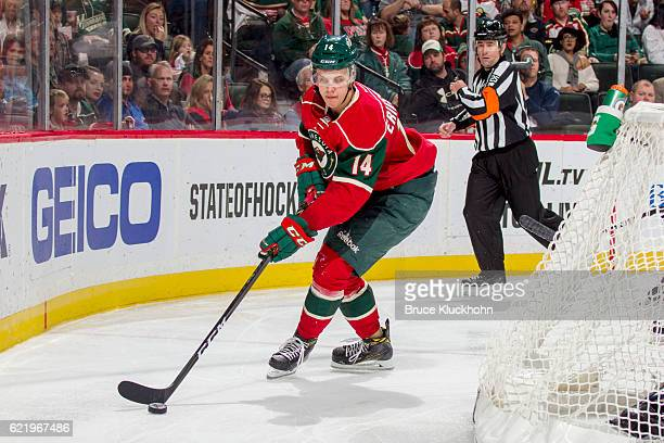 Joel Eriksson Ek of the Minnesota Wild skates with the puck against the Buffalo Sabres during the game on November 1 2016 at the Xcel Energy Center...