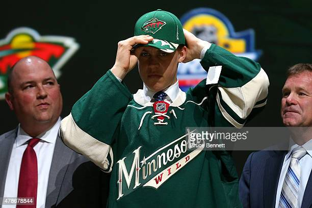 Joel Eriksson Ek poses after being selected 20th overall by the Minnesota Wild in the first round of the 2015 NHL Draft at BBT Center on June 26 2015...