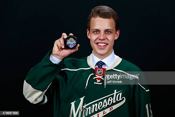 Joel Eriksson Ek poses for a portrait after being selected 20th overall by the Minnesota Wild during Round One of the 2015 NHL Draft at BBT Center on...
