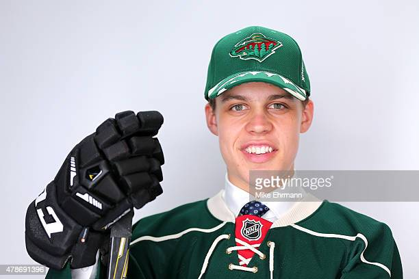 Joel Eriksson Ek poses for a portrait after being selected 20th overall by the Minnesota Wild during the 2015 NHL Draft at BBT Center on June 26 2015...