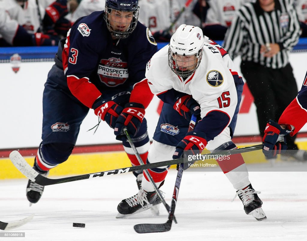 Joel Farabee #15 of Team Chelios with the puck as Adam Samuelsson #3 of Team Leetch defends in the third period during the CCM/USA Hockey All-American Prospects Game at the KeyBank Center on September 21, 2017 in Buffalo, New York. Team Leetch beat Team Chelios 6-5.