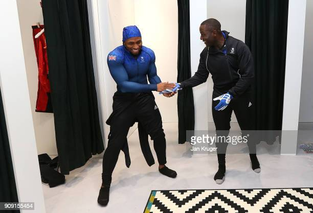 Joel Fearon and Lamin Deen share a joke during the Team GB Kitting Out Ahead Of Pyeongchang 2018 Winter Olympic Games at Adidas headquarters on...