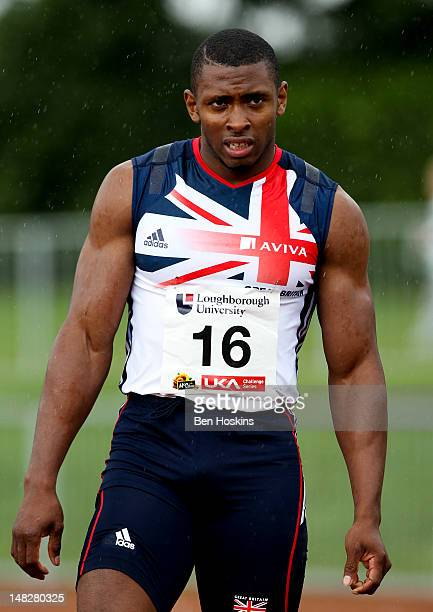 Joel Fearon of the Birchfield Harriers looks on after competing in the men's 100m during the Loughborough European Athletics Permit meet at The Paula...