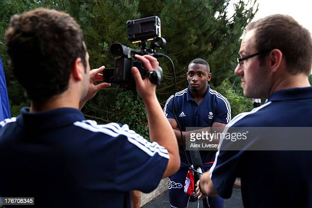 Joel Fearon of the British Winter Olympic Bobsleigh Team is interviewed on TV during the Team GB Winter Olympic Media Summit at Bath University...