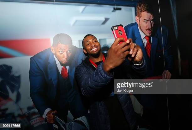 Joel Fearon takes a selfie during the Team GB Kitting Out Ahead Of Pyeongchang 2018 Winter Olympic Games at Adidas headquarters on January 23 2018 in...
