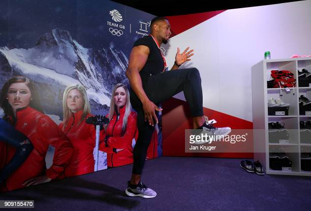Joel Fearon tries on his trainers during the Team GB Kitting Out Ahead Of Pyeongchang 2018 Winter Olympic Games at Adidas headquarters on January 23...