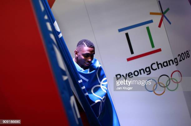 Joel Fearon tries on his uniform during the Team GB Kitting Out Ahead Of Pyeongchang 2018 Winter Olympic Games at Adidas headquarters on January 23...