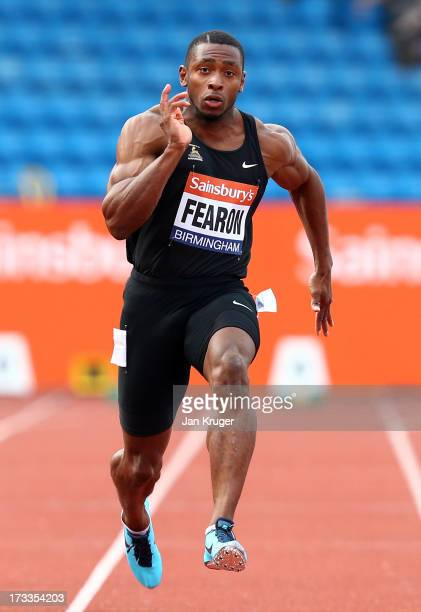 Joel Fearon wins his 100m Heat during day one of the Sainsbury's British Championships British Athletics World Trials and UK England Championships at...