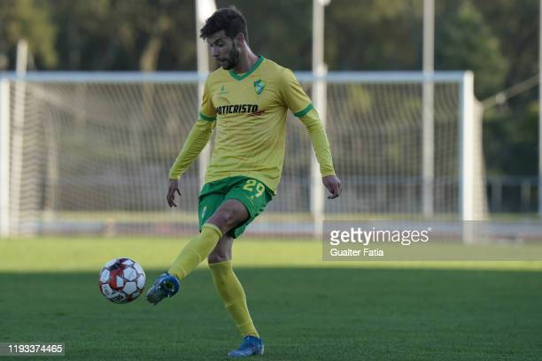 Joel Ferreira of CD Mafra in action during the Liga Pro match between CD Mafra and UD Vilafranquense at Estadio do Parque Desportivo Municipal de...