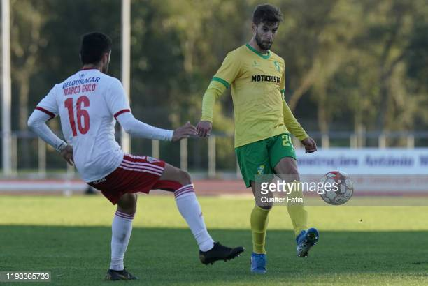 Joel Ferreira of CD Mafra with Marco Grilo of UD Vilafranquense in action during the Liga Pro match between CD Mafra and UD Vilafranquense at Estadio...