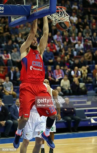 Joel Freeland #19 of CSKA Moscow in action during the Turkish Airlines Euroleague Basketball Regular Season Round 9 game between CSKA Moscow v...