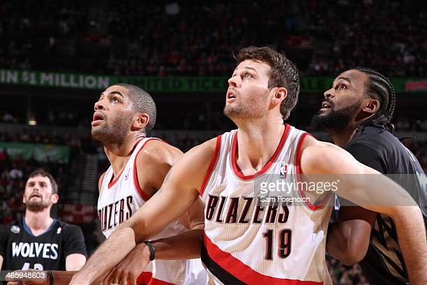 Joel Freeland of the Portland Trail Blazers boxes out against the Minnesota Timberwolves on January 25 2014 at the Moda Center Arena in Portland...