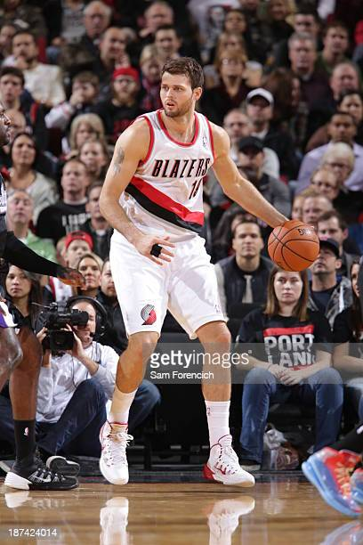 Joel Freeland of the Portland Trail Blazers controls the ball against the Sacramento Kings on November 8 2013 at the Moda Center Arena in Portland...