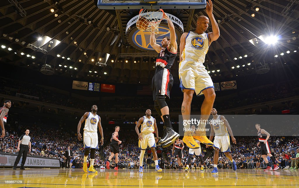 Joel Freeland #19 of the Portland Trail Blazers dunks against the Golden State Warriors on March 30, 2013 at Oracle Arena in Oakland, California.