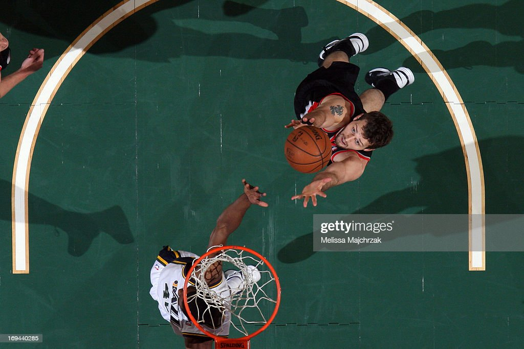 Joel Freeland #19 of the Portland Trail Blazers grabs a rebound against the Utah Jazz at Energy Solutions Arena on April 1, 2013 in Salt Lake City, Utah.