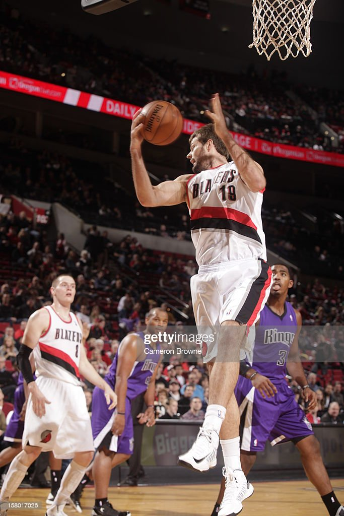 Joel Freeland #19 of the Portland Trail Blazers grabs a rebound during the game between the Sacramento Kings and the Portland Trail Blazers on December 8, 2012 at the Rose Garden Arena in Portland, Oregon.