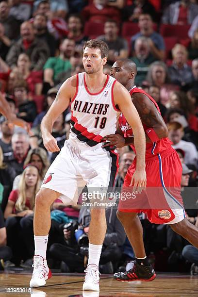 Joel Freeland of the Portland Trail Blazers looks for the ball against the Los Angeles Clippers on October 7 2013 at the Moda Center Arena in...