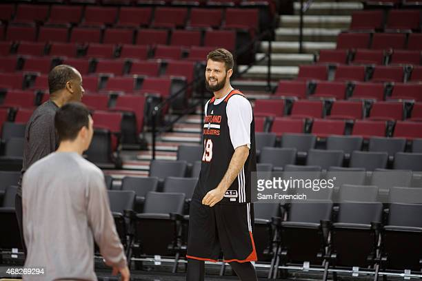 Joel Freeland of the Portland Trail Blazers participates in team practice March 31 2015 at the Moda Center Arena in Portland Oregon NOTE TO USER User...