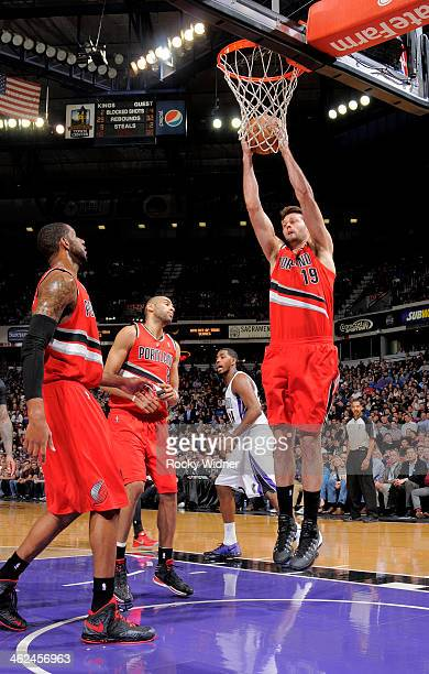 Joel Freeland of the Portland Trail Blazers rebounds against the Sacramento Kings on January 7 2014 at Sleep Train Arena in Sacramento California...