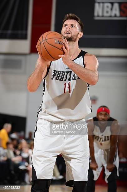 Joel Freeland of the Portland Trail Blazers shoots a free throw against the Atlanta Hawks at the Samsung NBA Summer League 2014 on July 17 2014 at...