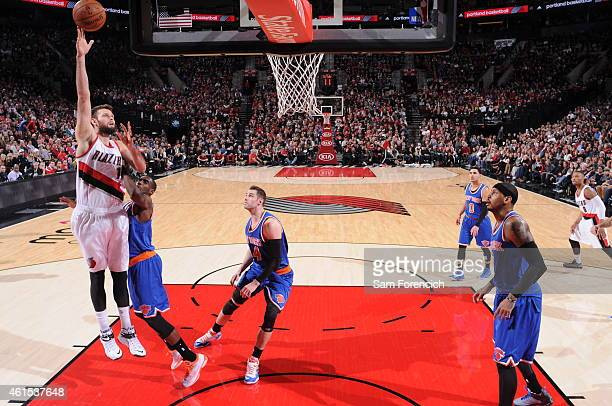 Joel Freeland of the Portland Trail Blazers shoots against the New York Knicks on December 28 2014 at the Moda Center Arena in Portland Oregon NOTE...