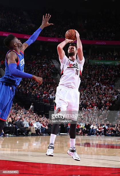 Joel Freeland of the Portland Trail Blazers shoots the ball against the Portland Trail Blazers on December 26 2014 at the Moda Center Arena in...