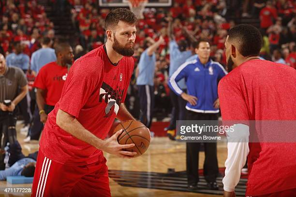 Joel Freeland of the Portland Trail Blazers warms up before Game Three of the Western Conference Quarterfinals against the Memphis Grizzlies during...