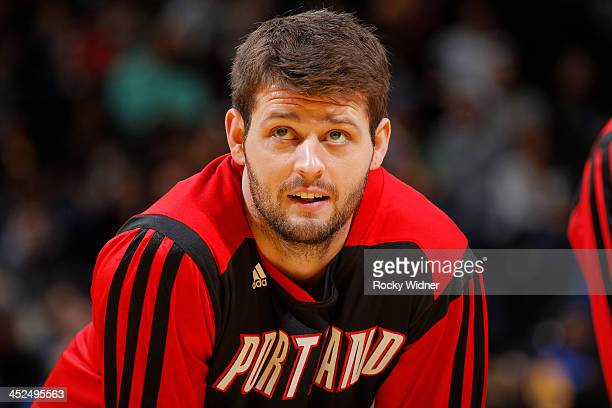 Joel Freeland of the Portland Trail Blazers warms up prior to the game against the Golden State Warriors on November 23 2013 at Oracle Arena in...
