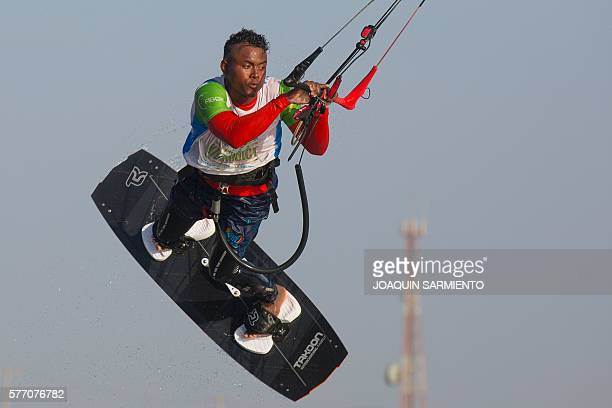 Joel from Colombia's Wayuu indigenous ethnia competes in the Free Style Kitesurfing competition of the Third Kite Addict Colombia tournament in Cabo...