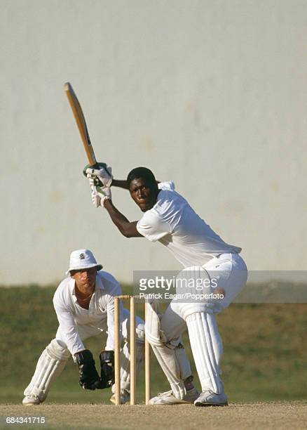 Joel Garner batting for West Indies during the 2nd Test match between West Indies and England at the Queen's Park Oval, Port of Spain, Trinidad, 8th...