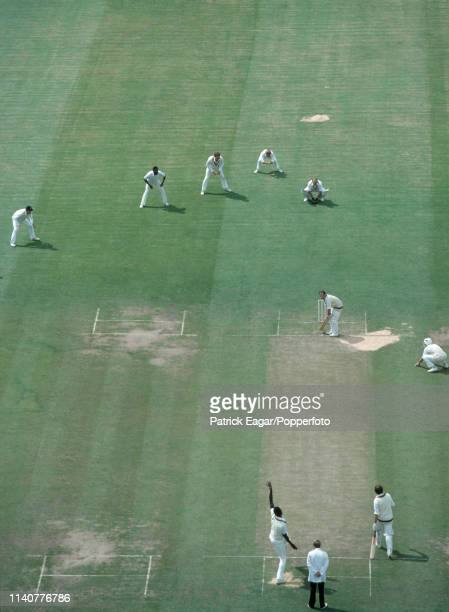 Joel Garner of Somerset bowls to Bedfordshire batsman Malcolm Stedman during the NatWest Bank Trophy 1st round match between Bedfordshire and...