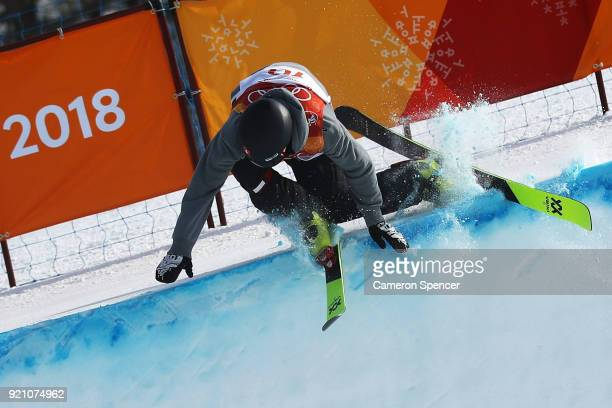 Joel Gisler of Switzerland crashes during the Freestyle Skiing Men's Ski Halfpipe Qualification on day eleven of the PyeongChang 2018 Winter Olympic...