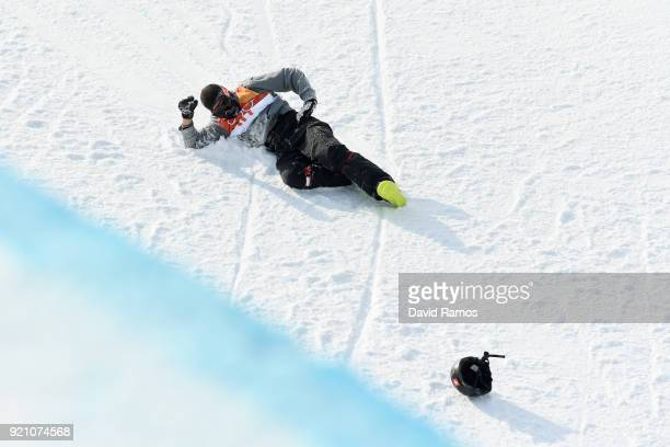 Joel Gisler of Switzerland reacts after crashing during the Freestyle Skiing Men's Ski Halfpipe Qualification on day eleven of the PyeongChang 2018...