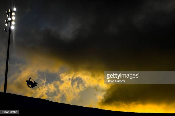 Joel Gisler of Switzerland warms up prior to the Men's halfpipe qualification round on day 9 of the FIS Freestyle Ski Snowboard World Championships...