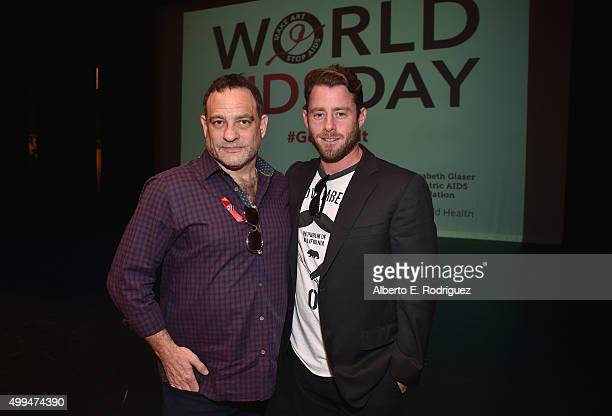 Joel Goldman Managing Director of The Elizabeth Taylor AIDS Foundation and Jake Glaser attend the special event held at UCLA to commemorate World...