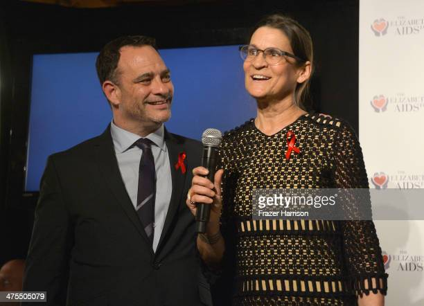 Joel Goldman Managing Director of The Elizabeth Taylor AIDS Foundation and Aileen Getty attend The Elizabeth Taylor AIDS Foundation Art Auction...