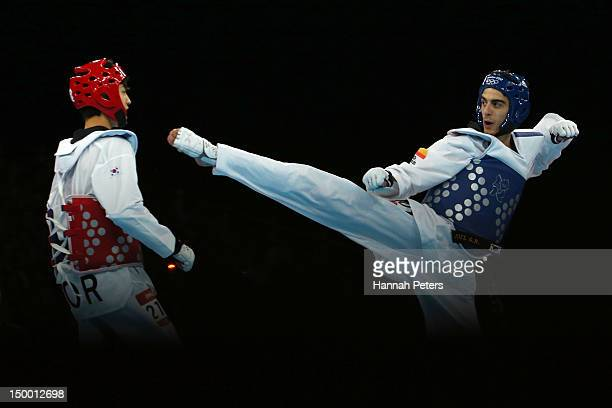 Joel Gonzalez Bonilla of Spain competes against Daehoon Lee of Korea during the Men's 58kg Taekwondo Final match on Day 12 of the London 2012 Olympic...