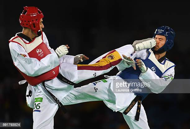 Joel Gonzalez Bonilla of Spain competes against Filip Grgic of Croatia during the Mens 68kg Taekwondo contest at Cairoca Arena 3 on August 18 2016 in...