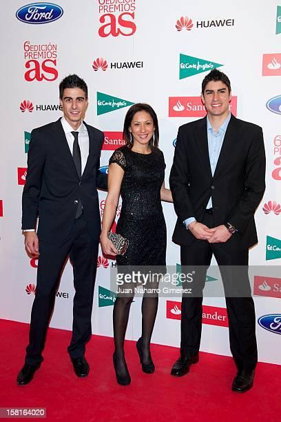 Joel Gonzalez Brigitte Yague and Niko Garcia attend As del Deporte awards 2012 at Palace Hotel on December 10 2012 in Madrid Spain