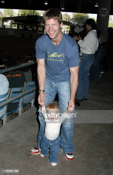 Joel Gretsch and daughter Willow during William Shatner Wells Fargo Hollywood Charity Horse Show April 29 2006 at Los Angeles Equestrian Center in...