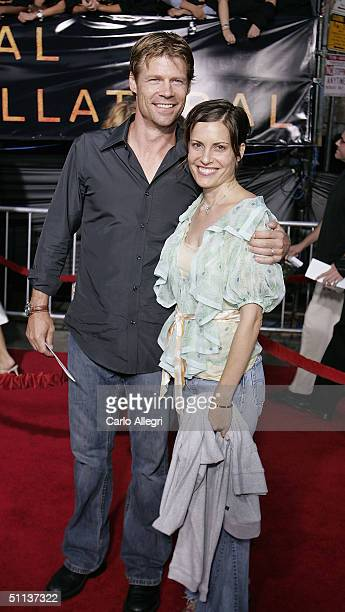 Joel Gretsch and wife Melanie Shatner arrives at the World Premiere of Collateral at the Orpheum Theatre on August 2 2004 in Los Angeles California
